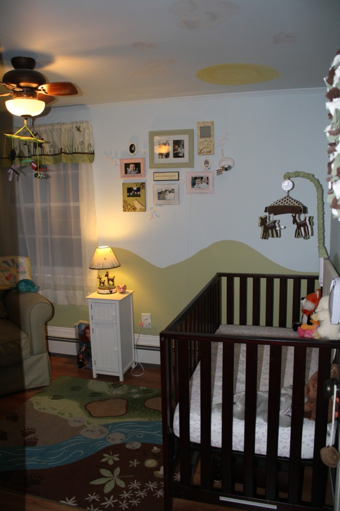 baby nursery with woodland animal theme