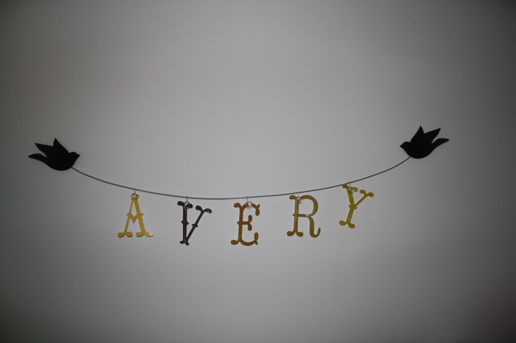 baby nursery name decoration, woodland animal theme.