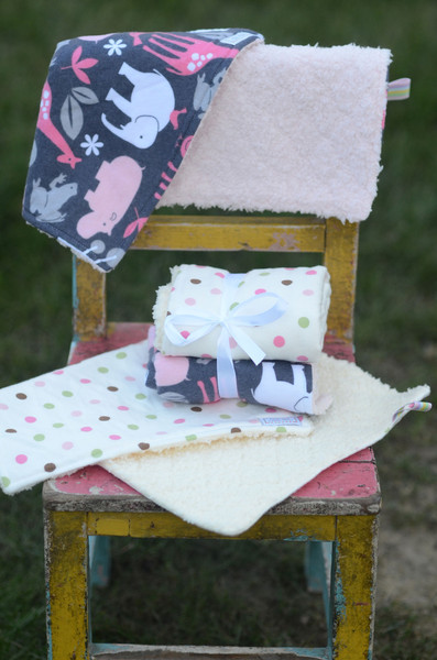 Adorable little girls burp cloths from Little Bits