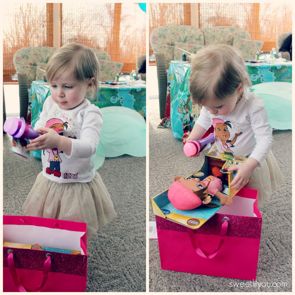 Opening presents at her #DisneySide unbirthday party #sponsored