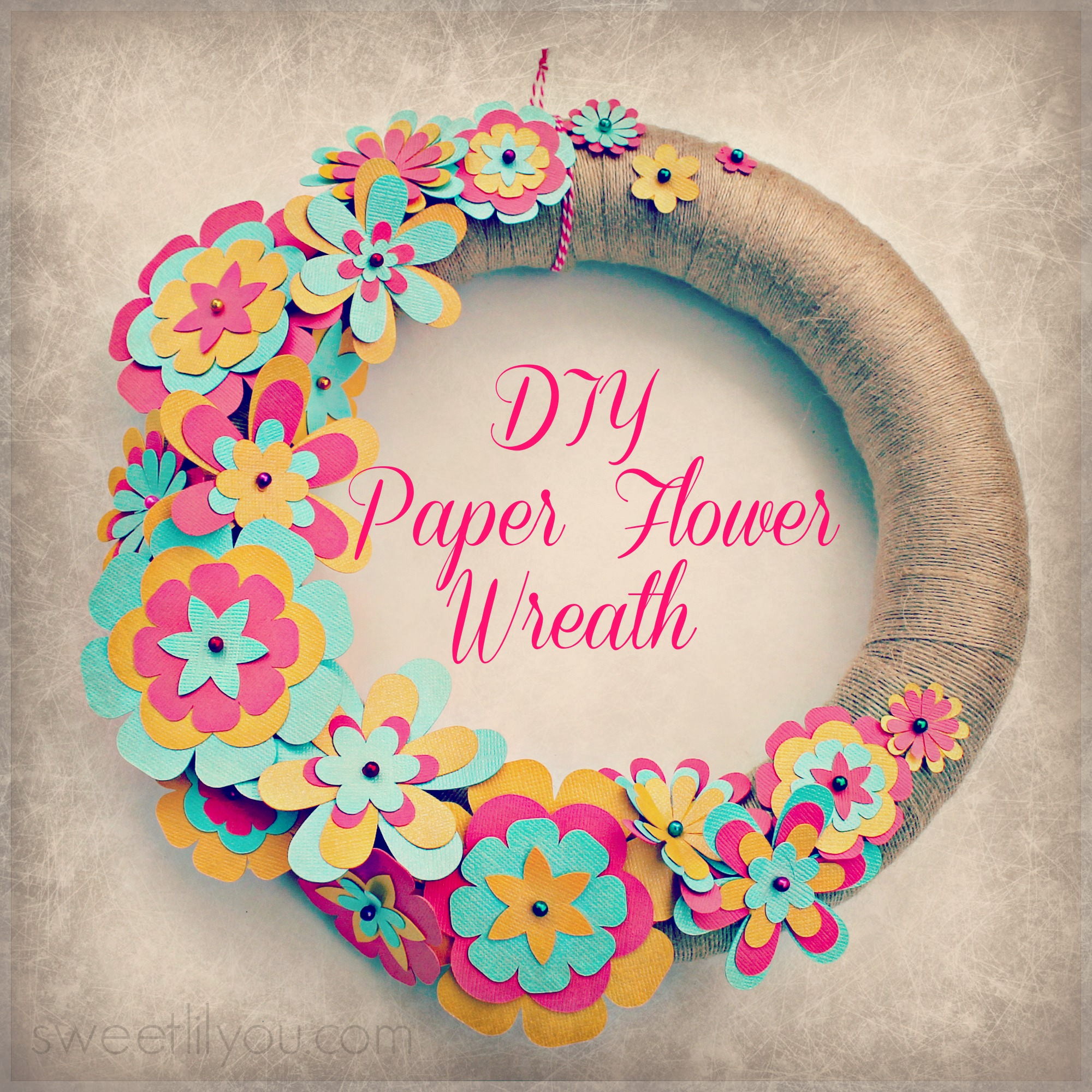 Easy diy paper flower wreath sweet lil you for Art and craft ideas for decoration