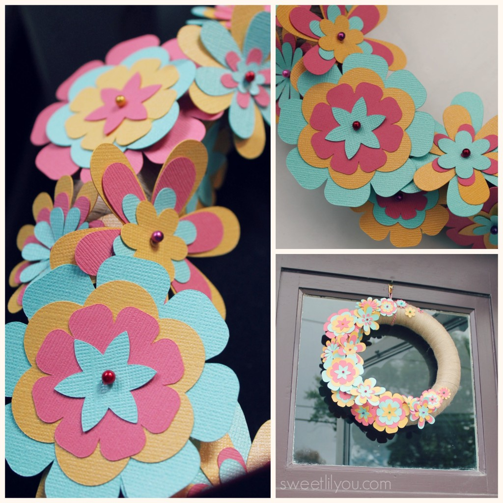 Paper Flower wreath for Sping or Summer #Silhoutte #Michaels #Crafts #paper