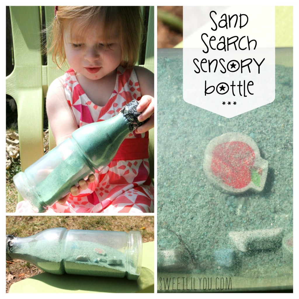 Sand Search Sensory Bottles for Toddlers via sweetlilyou.com