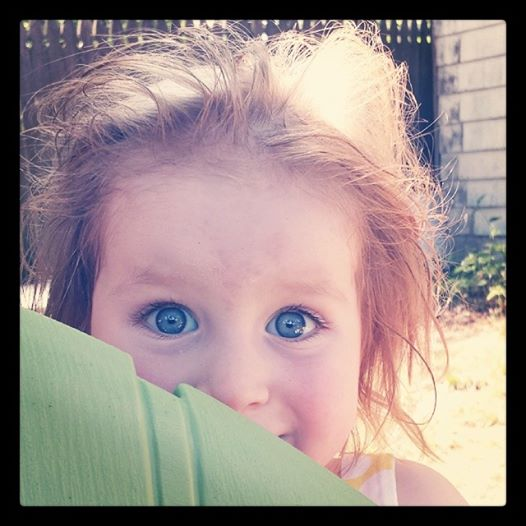 Adorable and funny picture of Avery playing peek a boo