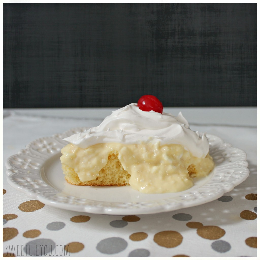Simple and delicious Pineapple Pudding Cake recipe from Sweetlilyou.com