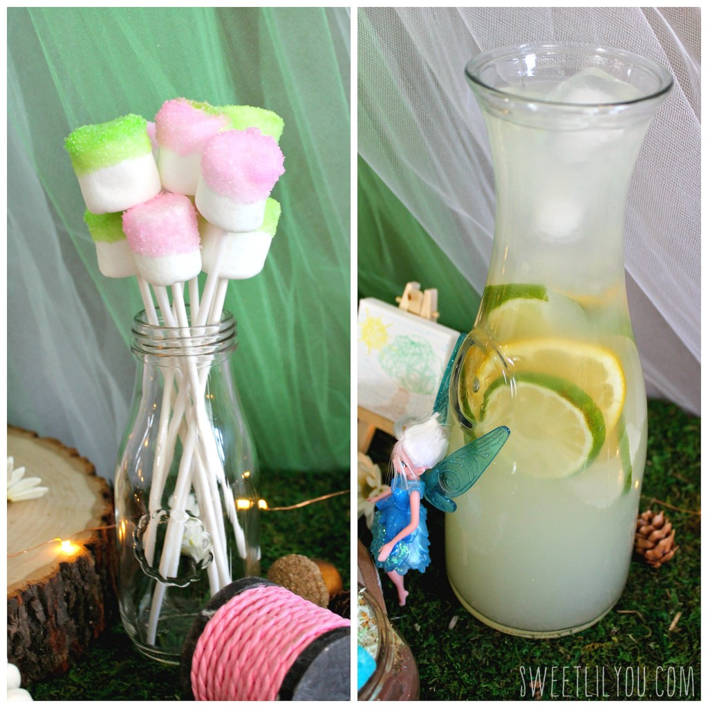 Pixie Pops and Morning Dew! Food for your Tinker Bell Party. From SweetLilYou.com