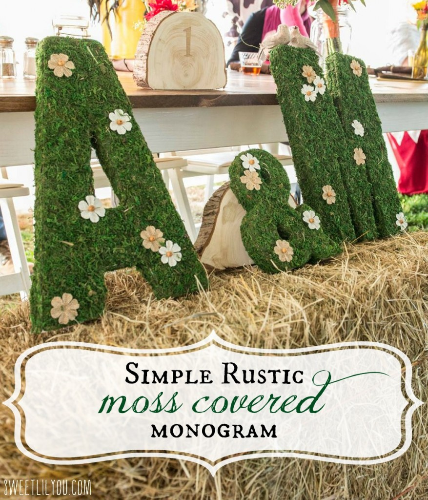 Simple, Moss Covered monogram letters. Rustic Wedding Decor. via sweetlilyou.com
