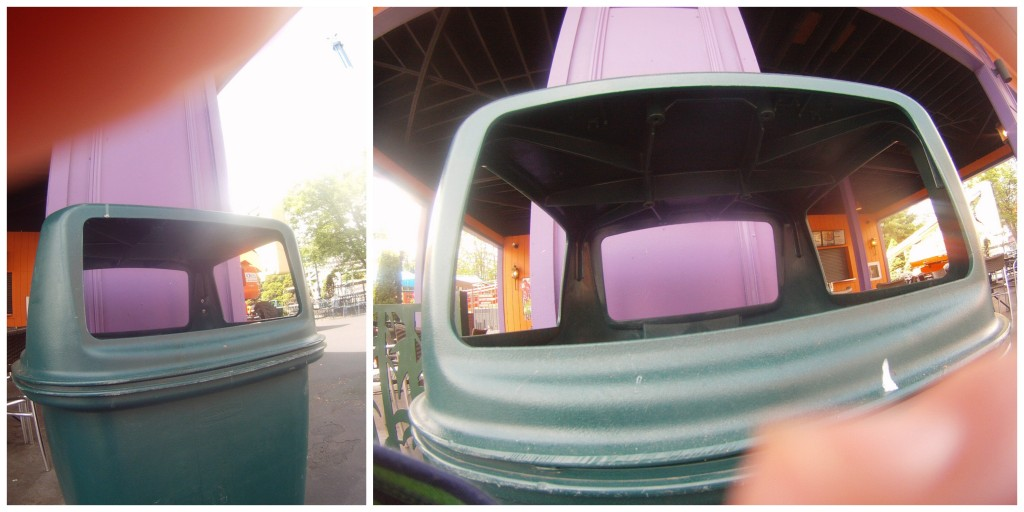Photos of trash cans at six flags new england