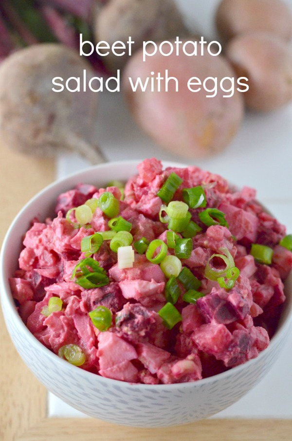 beet potato salad with eggs and vegan version