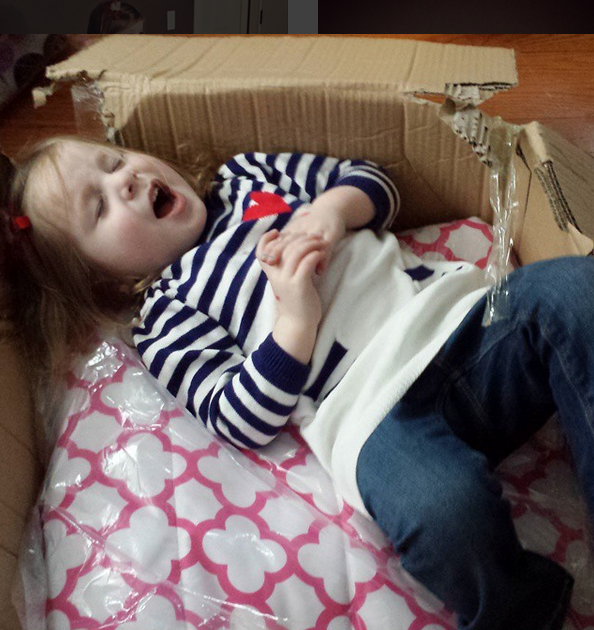Avery couldn't wait to try out her new bedding, as soon as it arrived, she took a nap on it, still in the shipping box!