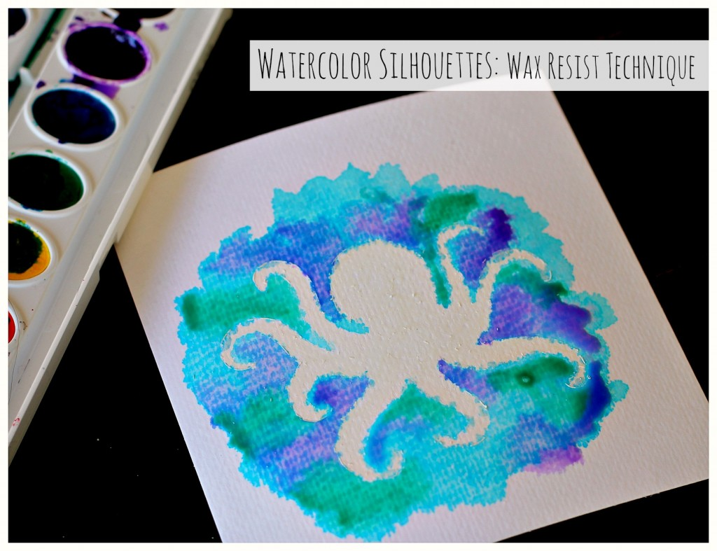 Water Color Silhouettes Wax Resist