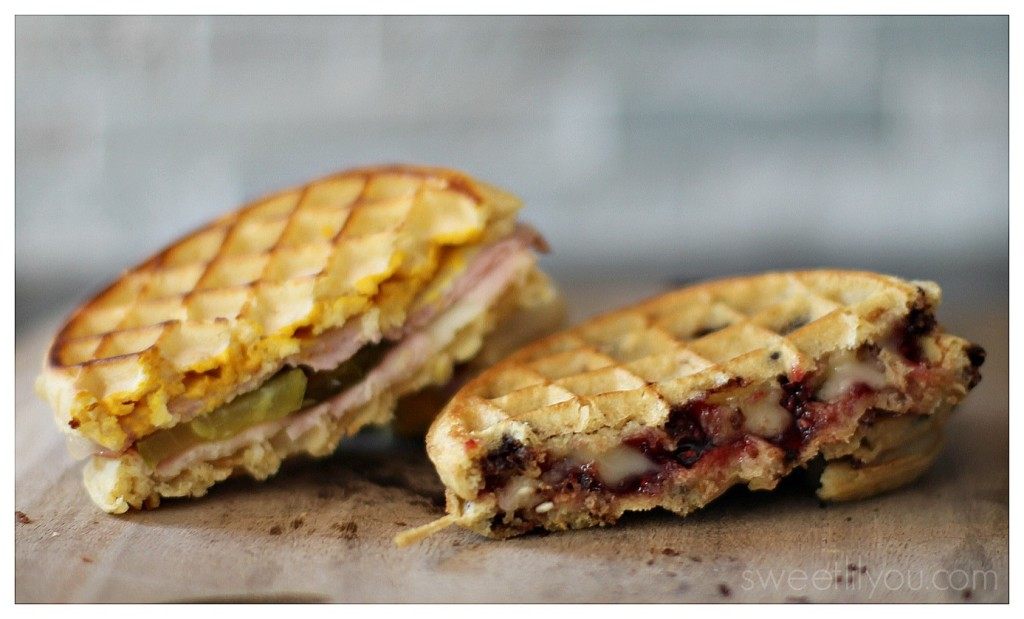 Savory waffle grilled cheese