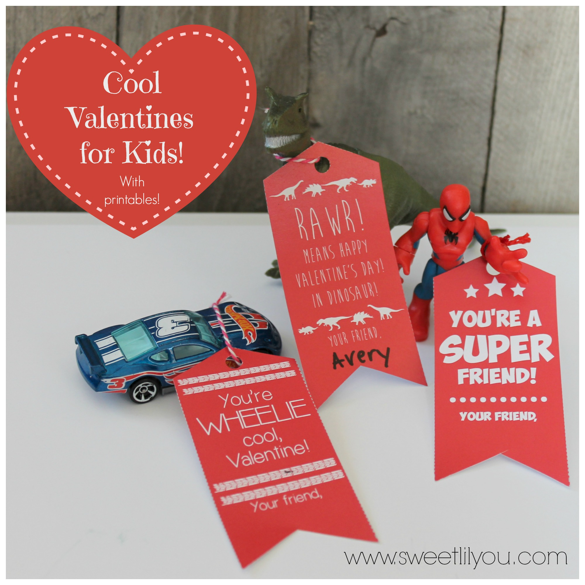 Cool Valentines for Kids! Dinosaurs Super heroes and Race cars! With Printable tags!