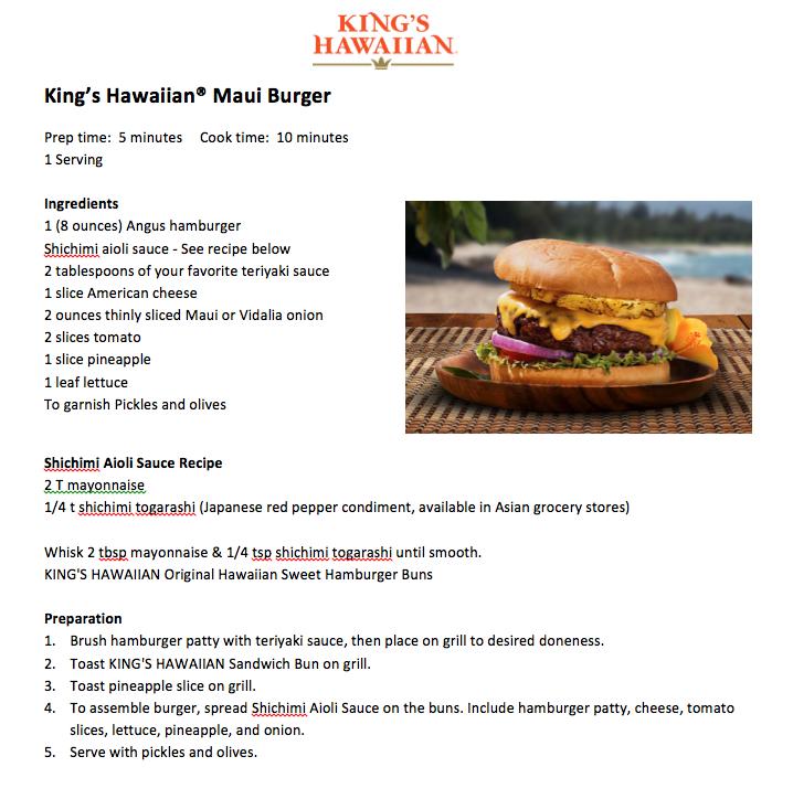 King's Hawaiian Maui Burger