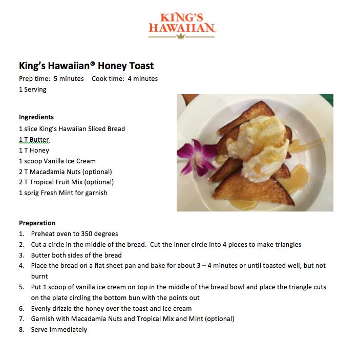 King's Hawaiian Honey Toast