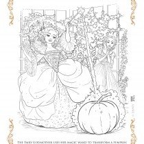 Cinderella and the Fairy Godmother Coloring Sheet
