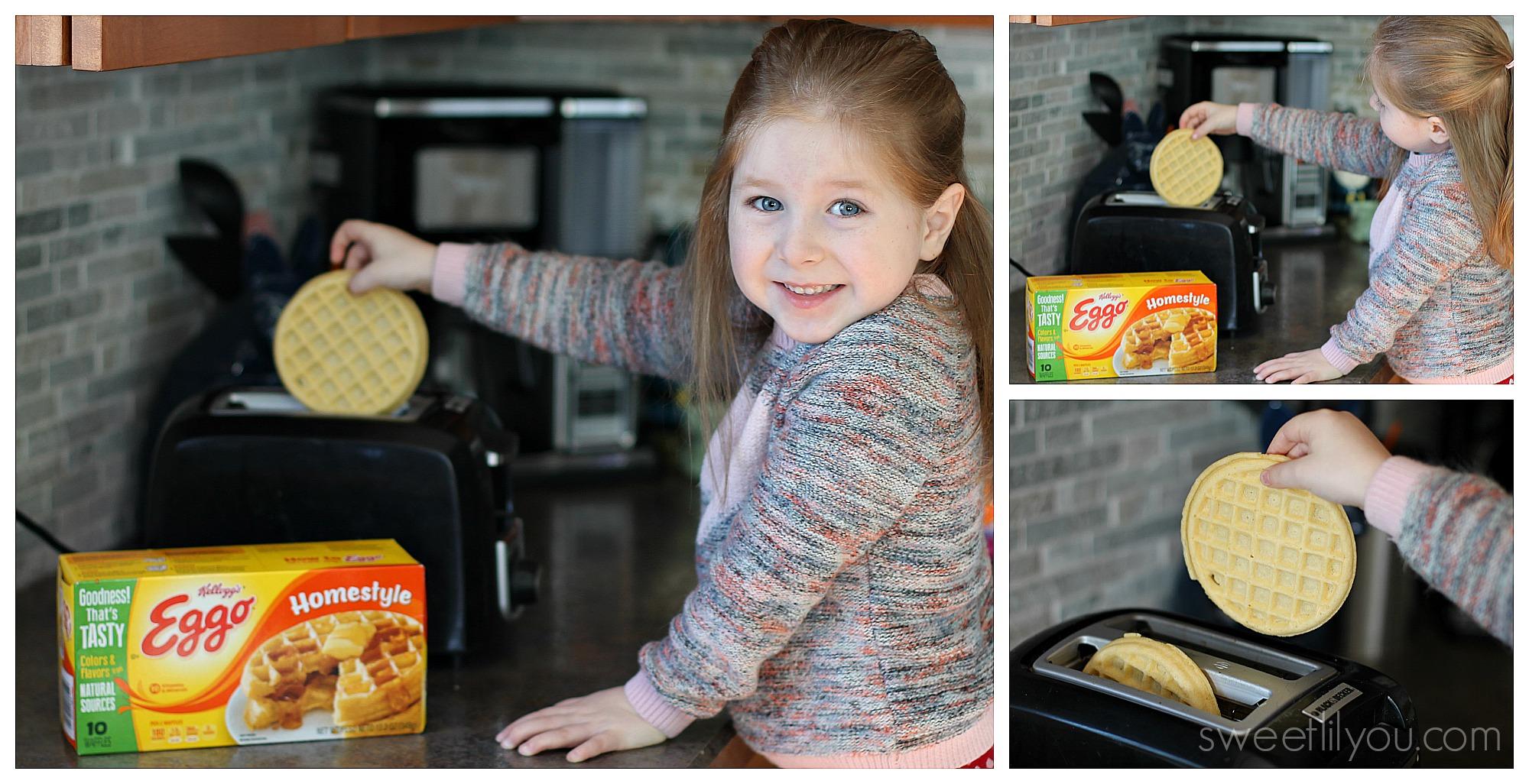 Avery making eggo waffles