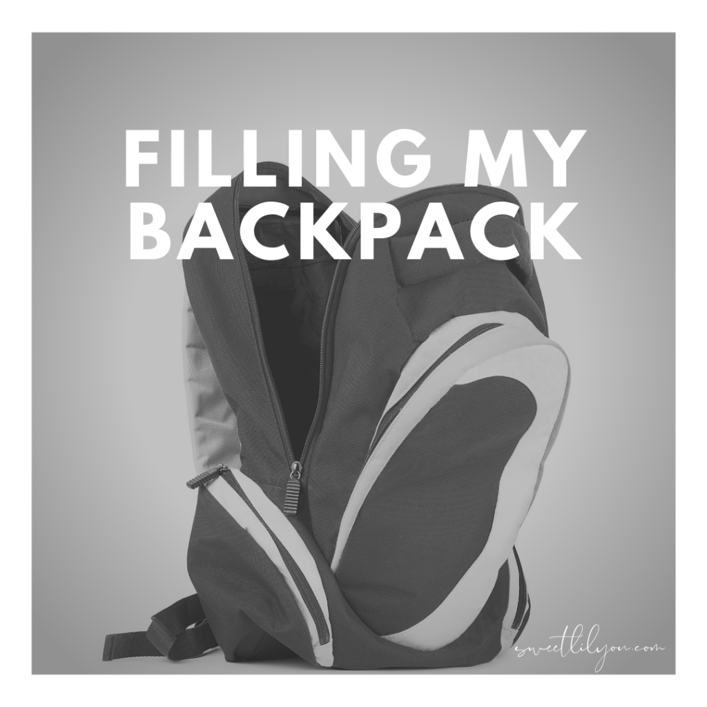 Filling My Backpack - Empty backpack on grey background